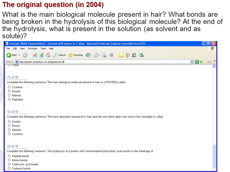10 The test The original question (in 2004) What is the main biological molecule present in hair.