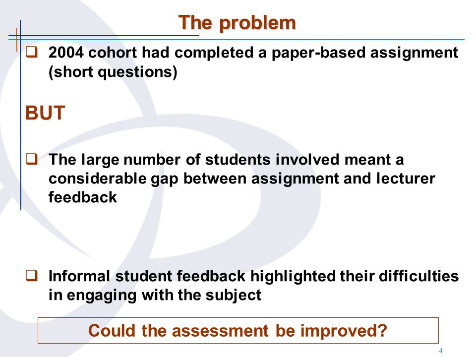 4 The problem Could the assessment be improved.