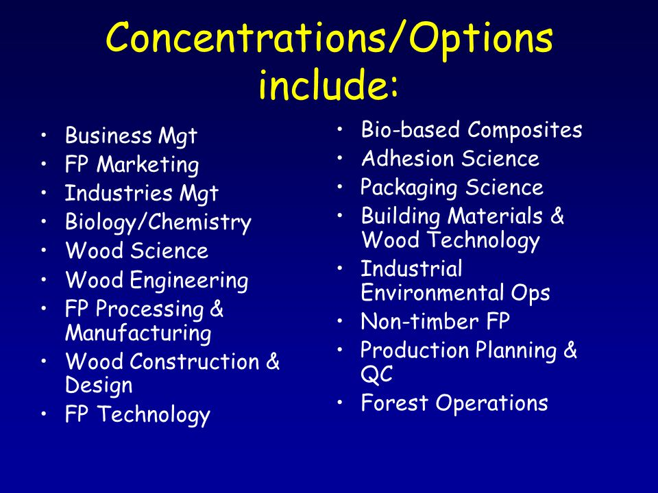 Concentrations/Options include: Business Mgt FP Marketing Industries Mgt Biology/Chemistry Wood Science Wood Engineering FP Processing & Manufacturing Wood Construction & Design FP Technology Bio-based Composites Adhesion Science Packaging Science Building Materials & Wood Technology Industrial Environmental Ops Non-timber FP Production Planning & QC Forest Operations