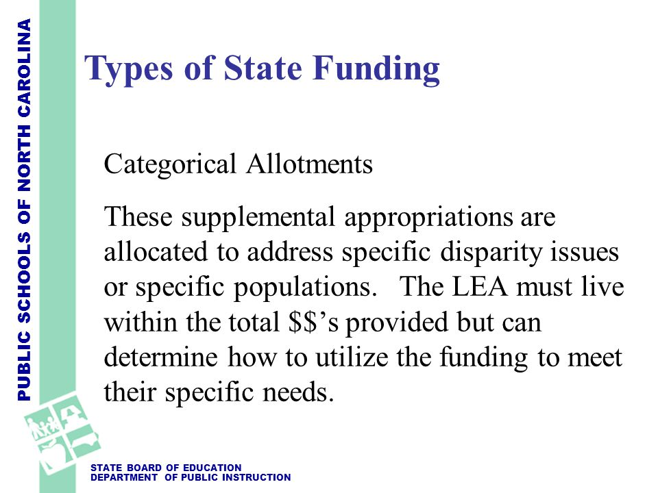 PUBLIC SCHOOLS OF NORTH CAROLINA STATE BOARD OF EDUCATION DEPARTMENT OF PUBLIC INSTRUCTION Categorical Allotments These supplemental appropriations ar
