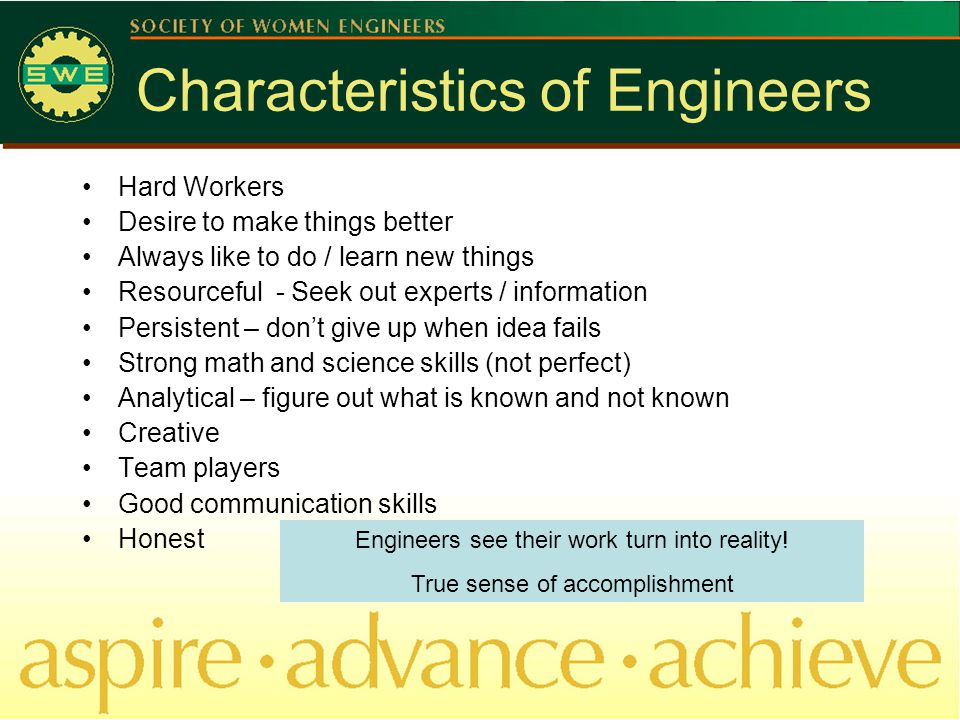 Characteristics of Engineers Hard Workers Desire to make things better Always like to do / learn new things Resourceful - Seek out experts / information Persistent – don't give up when idea fails Strong math and science skills (not perfect) Analytical – figure out what is known and not known Creative Team players Good communication skills Honest Engineers see their work turn into reality.
