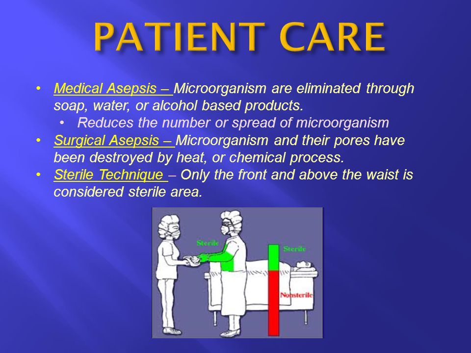 Medical Asepsis – Microorganism are eliminated through soap, water, or alcohol based products. Reduces the number or spread of microorganism Surgical
