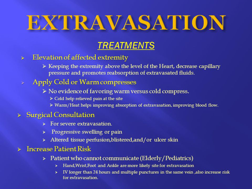  Elevation of affected extremity  Keeping the extremity above the level of the Heart, decrease capillary pressure and promotes reabsorption of extravasated fluids.
