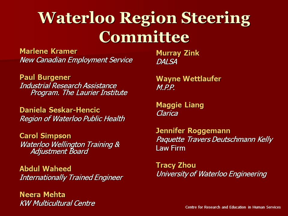 Waterloo Region Steering Committee Marlene Kramer New Canadian Employment Service Paul Burgener Industrial Research Assistance Program.