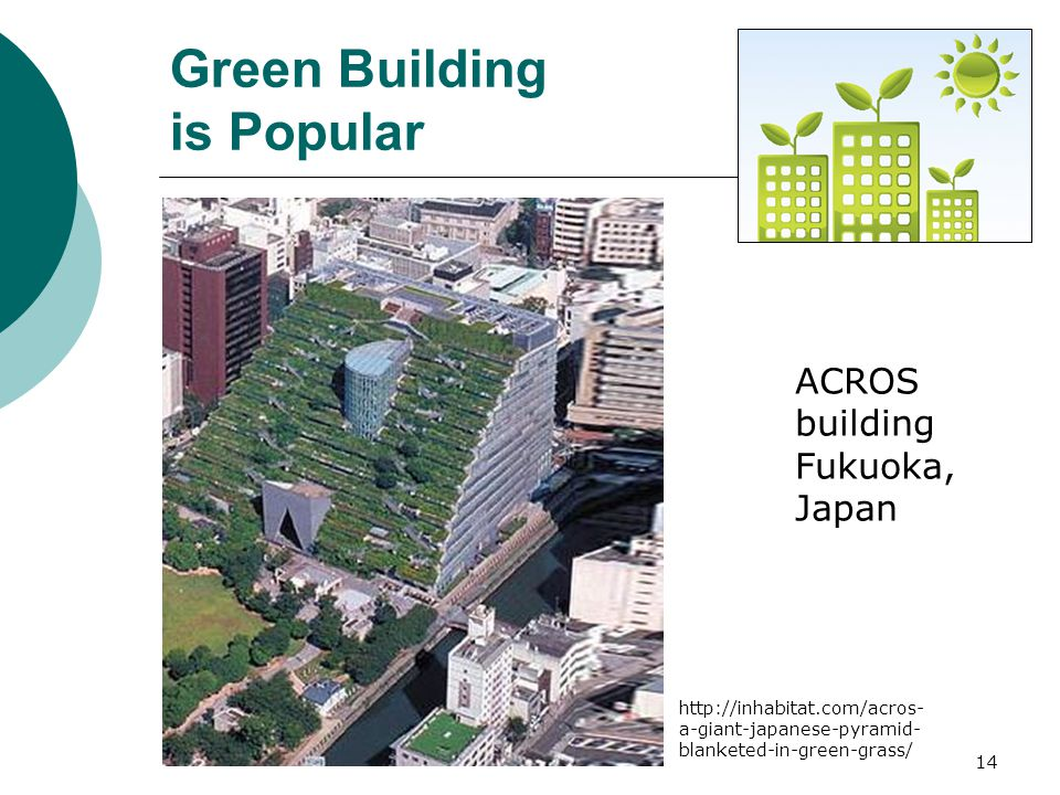 14 ACROS building Fukuoka, Japan Green Building is Popular http://inhabitat.com/acros- a-giant-japanese-pyramid- blanketed-in-green-grass/