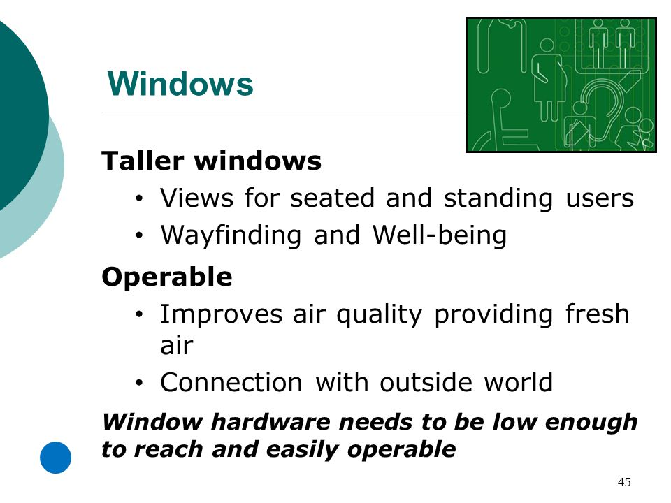 Windows 45 Taller windows Views for seated and standing users Wayfinding and Well-being Operable Improves air quality providing fresh air Connection with outside world Window hardware needs to be low enough to reach and easily operable