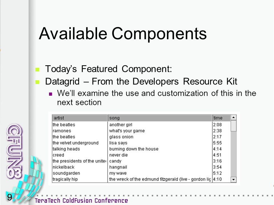 9 Available Components Today's Featured Component: Datagrid – From the Developers Resource Kit We'll examine the use and customization of this in the next section