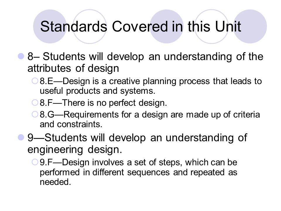 Standards Covered in this Unit 8– Students will develop an understanding of the attributes of design  8.E—Design is a creative planning process that leads to useful products and systems.