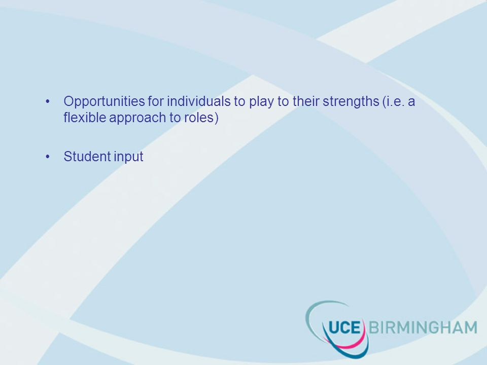 Opportunities for individuals to play to their strengths (i.e.
