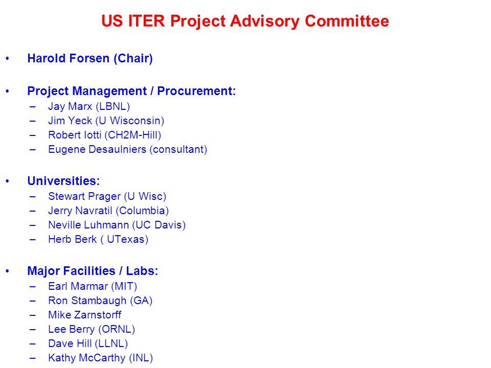 US ITER Project Advisory Committee Harold Forsen (Chair) Project Management / Procurement: – Jay Marx (LBNL) – Jim Yeck (U Wisconsin) – Robert Iotti (