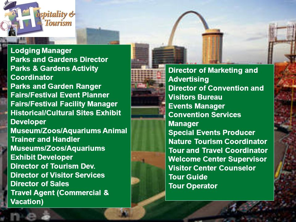 Lodging Manager Parks and Gardens Director Parks & Gardens Activity Coordinator Parks and Garden Ranger Fairs/Festival Event Planner Fairs/Festival Facility Manager Historical/Cultural Sites Exhibit Developer Museum/Zoos/Aquariums Animal Trainer and Handler Museums/Zoos/Aquariums Exhibit Developer Director of Tourism Dev.