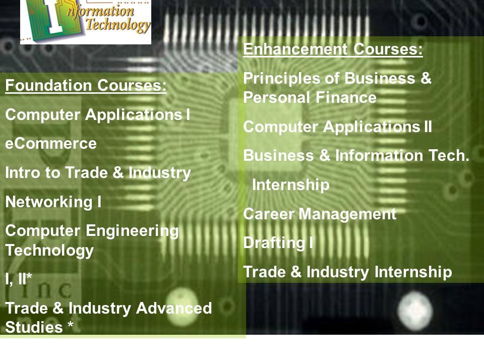 Foundation Courses: Computer Applications I eCommerce Intro to Trade & Industry Networking I Computer Engineering Technology I, II* Trade & Industry Advanced Studies * Enhancement Courses: Principles of Business & Personal Finance Computer Applications II Business & Information Tech.