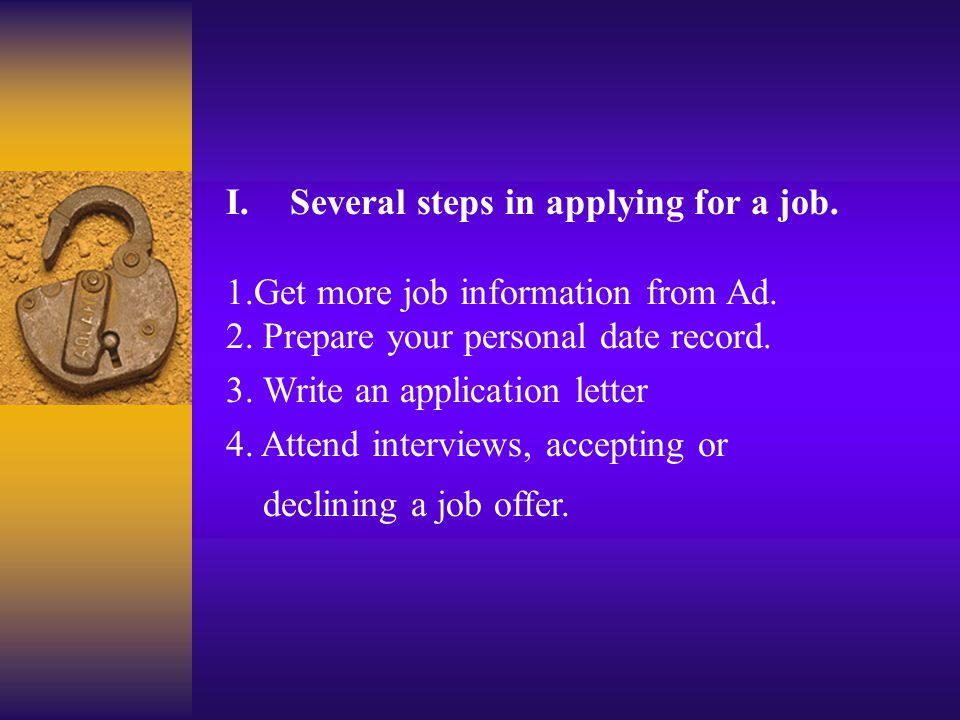 Introduction of the Application. 1.Several steps in applying for a job. 2. The tasks of these two classes.