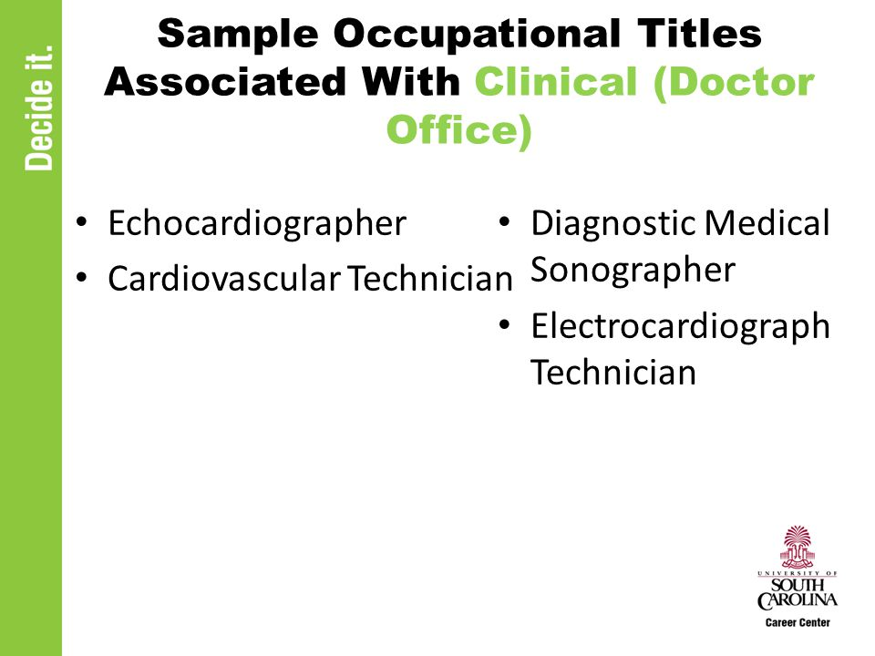 Sample Occupational Titles Associated With Clinical (Doctor Office) Echocardiographer Cardiovascular Technician Diagnostic Medical Sonographer Electrocardiograph Technician