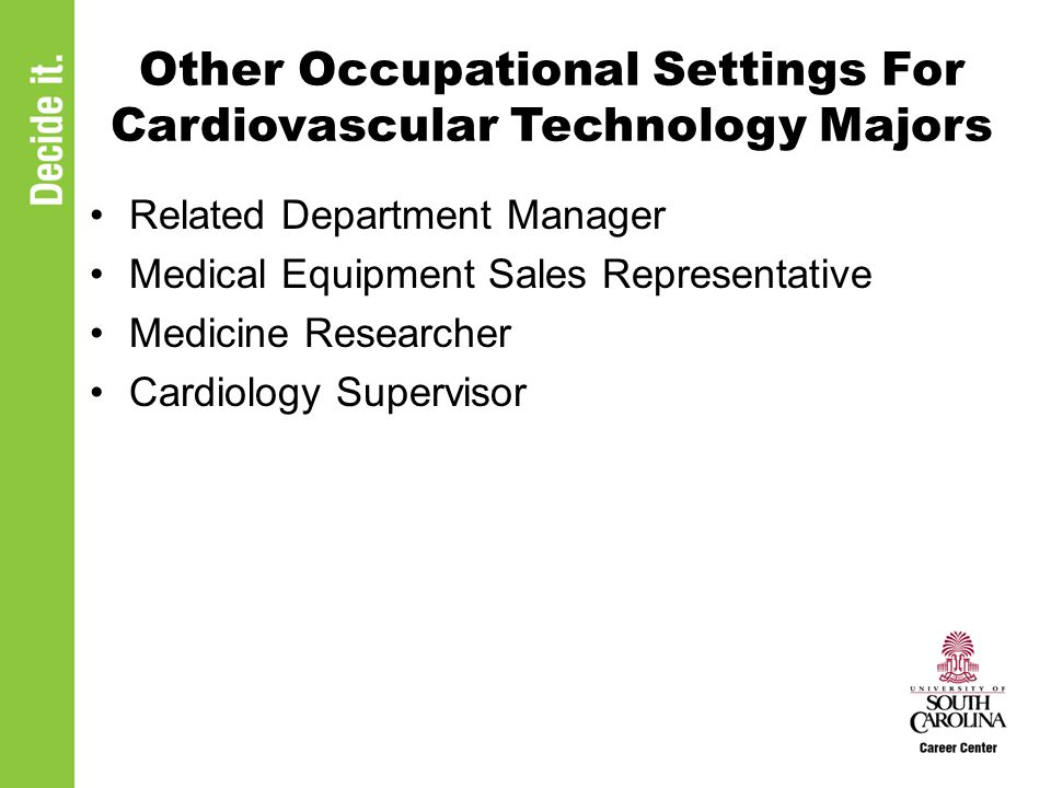 Other Occupational Settings For Cardiovascular Technology Majors Related Department Manager Medical Equipment Sales Representative Medicine Researcher Cardiology Supervisor