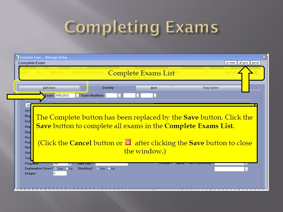 Use the Edit Exam tab to edit the exam information.