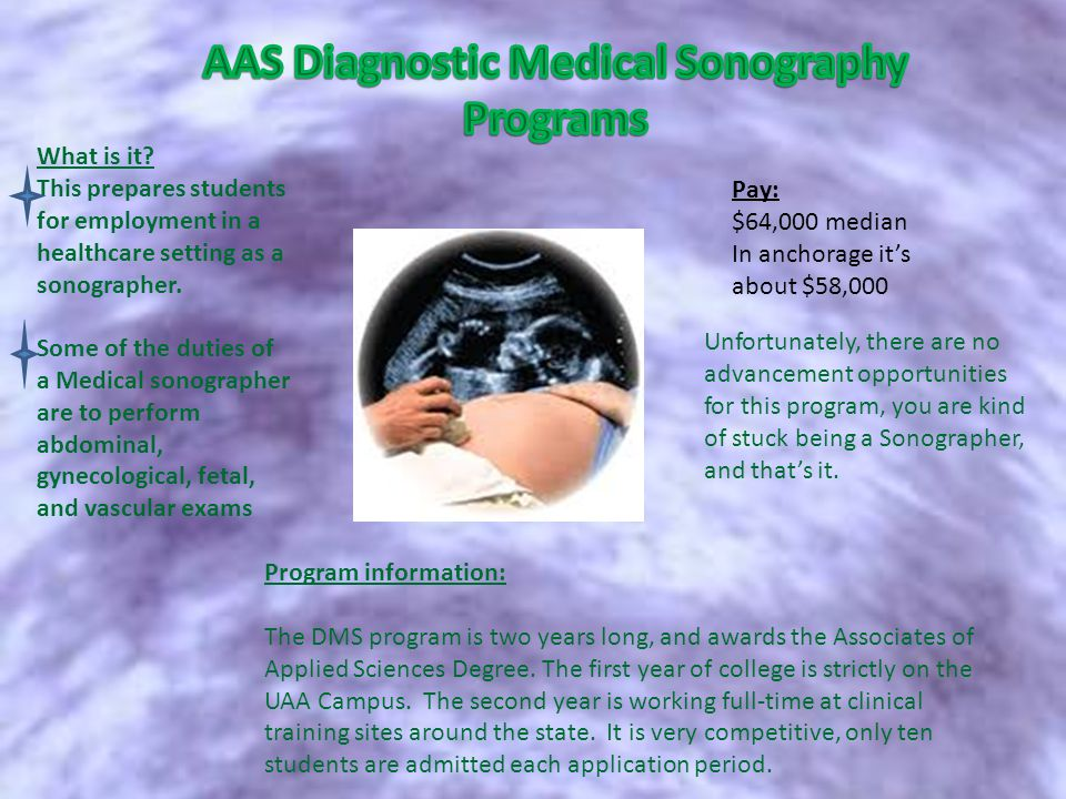 What is it. This prepares students for employment in a healthcare setting as a sonographer.