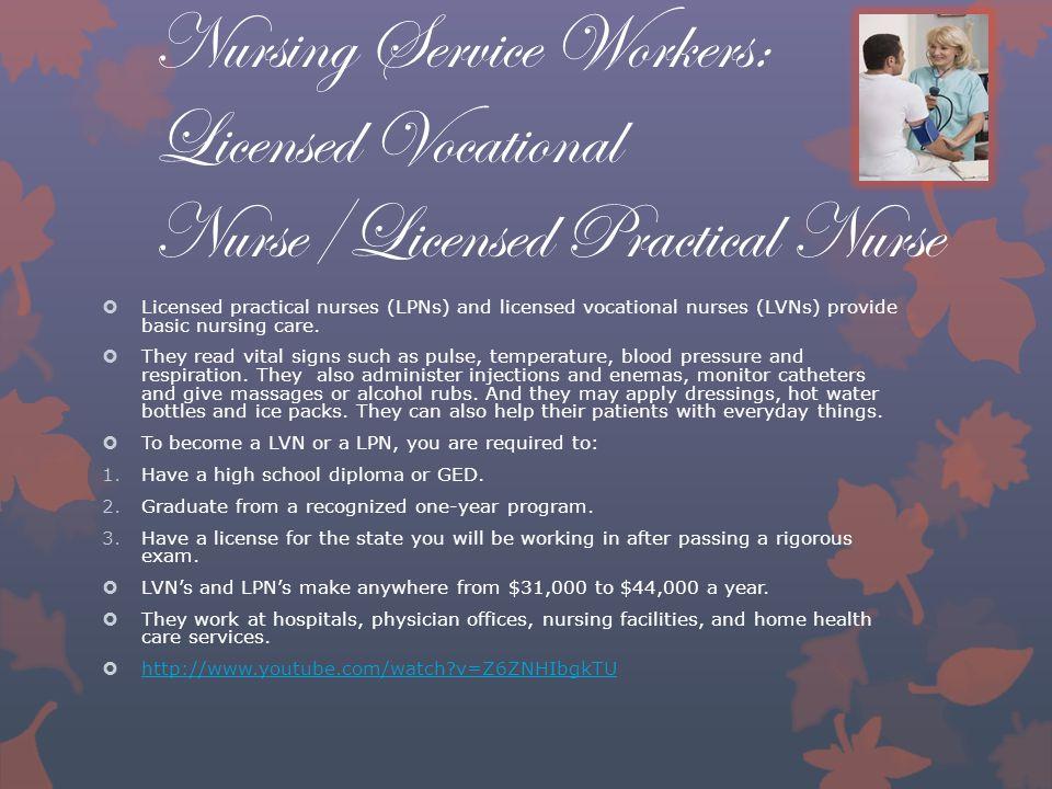 Nursing Service Workers: Licensed Vocational Nurse/Licensed Practical Nurse  Licensed practical nurses (LPNs) and licensed vocational nurses (LVNs) provide basic nursing care.