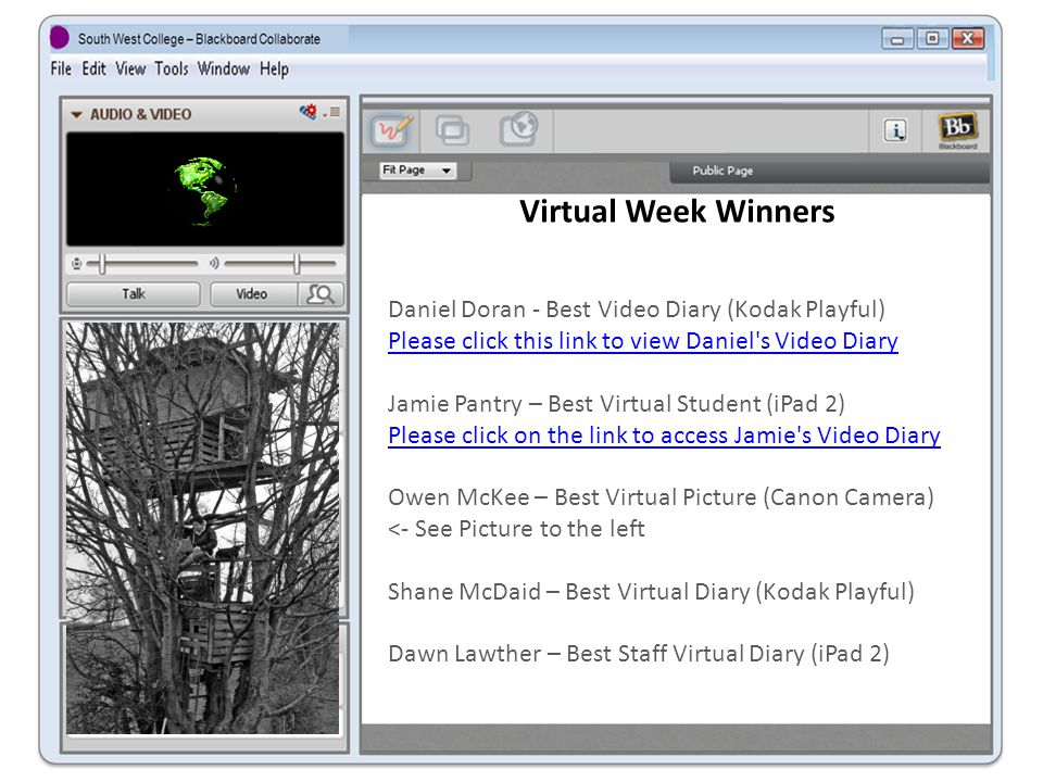 Virtual Week Winners Daniel Doran - Best Video Diary (Kodak Playful) Please click this link to view Daniel s Video Diary Jamie Pantry – Best Virtual Student (iPad 2) Please click on the link to access Jamie s Video Diary Owen McKee – Best Virtual Picture (Canon Camera) <- See Picture to the left Shane McDaid – Best Virtual Diary (Kodak Playful) Dawn Lawther – Best Staff Virtual Diary (iPad 2)