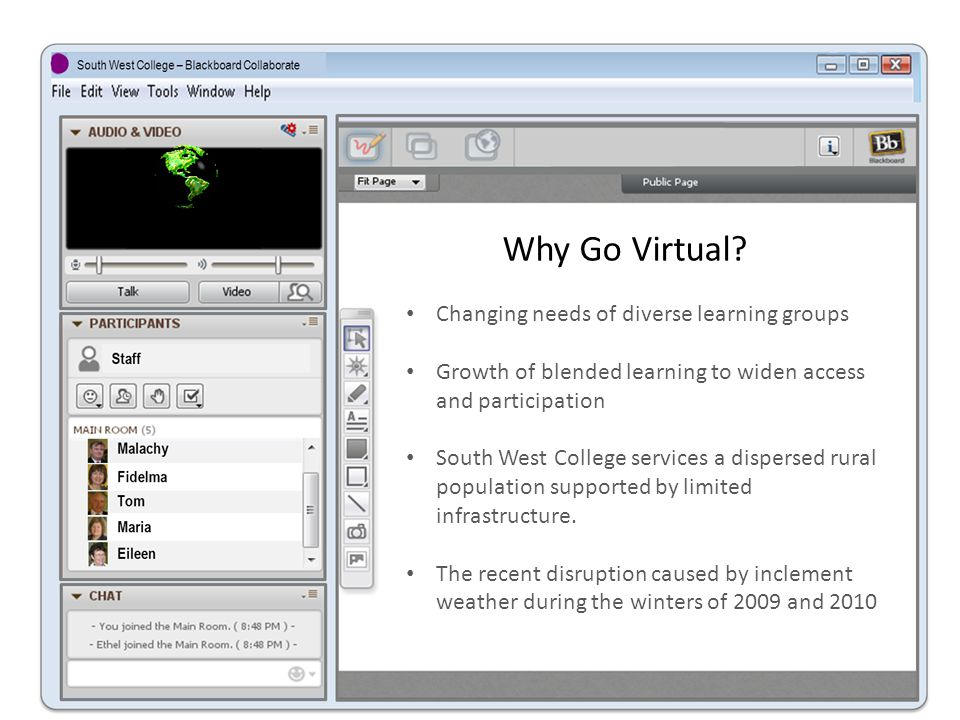 To Virtualise the Curriculum The provision of an on-line learning experience for South West College students, where students can access a rich variety of resources relating to their course.