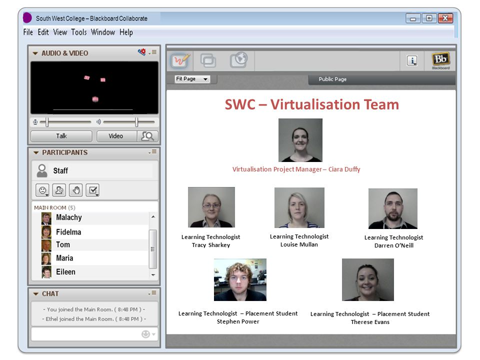 SWC – Virtualisation Team Virtualisation Project Manager – Ciara Duffy Learning Technologist Tracy Sharkey Learning Technologist Louise Mullan Learning Technologist Darren O'Neill Learning Technologist – Placement Student Stephen Power Learning Technologist – Placement Student Therese Evans