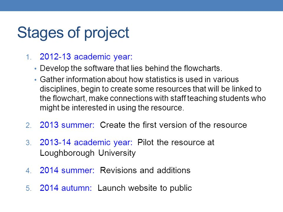 Stages of project 1. 2012-13 academic year: Develop the software that lies behind the flowcharts.