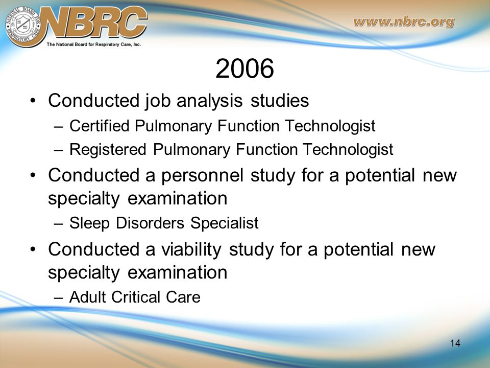 2006 Conducted job analysis studies –Certified Pulmonary Function Technologist –Registered Pulmonary Function Technologist Conducted a personnel study for a potential new specialty examination –Sleep Disorders Specialist Conducted a viability study for a potential new specialty examination –Adult Critical Care 14