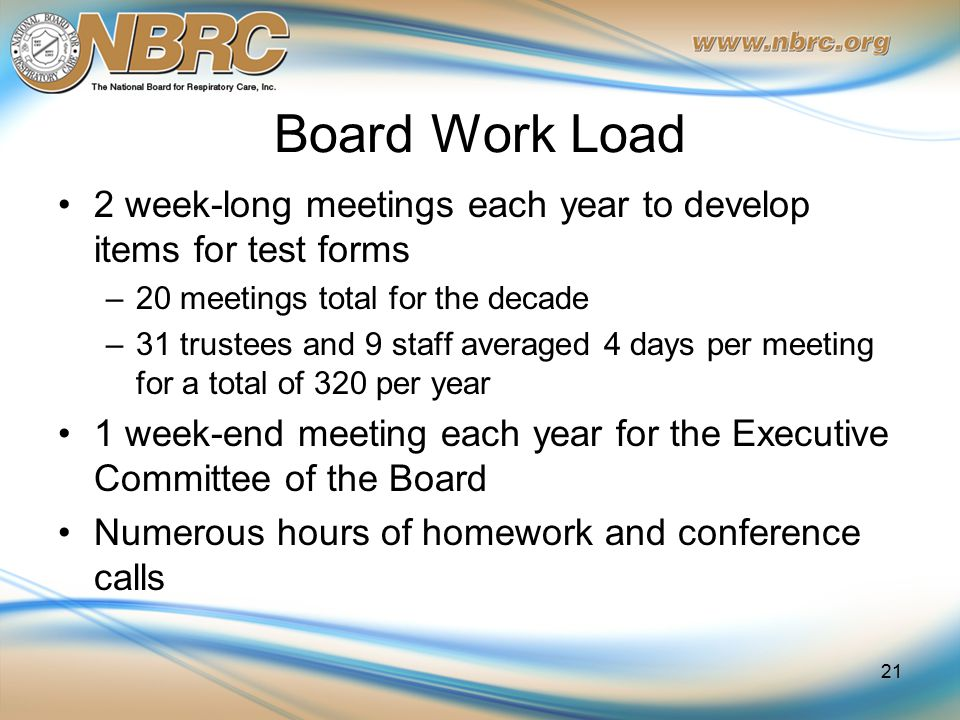 Board Work Load 2 week-long meetings each year to develop items for test forms –20 meetings total for the decade –31 trustees and 9 staff averaged 4 days per meeting for a total of 320 per year 1 week-end meeting each year for the Executive Committee of the Board Numerous hours of homework and conference calls 21