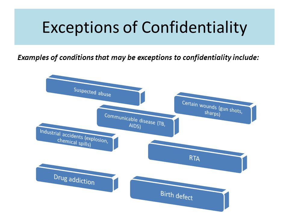 Exceptions of Confidentiality Examples of conditions that may be exceptions to confidentiality include: