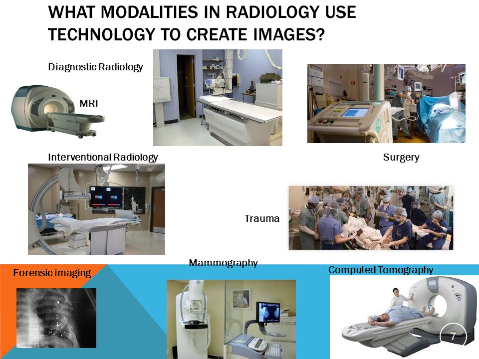 WHAT MODALITIES IN RADIOLOGY USE TECHNOLOGY TO CREATE IMAGES? Diagnostic Radiology Interventional RadiologySurgery Trauma Forensic imaging Computed To