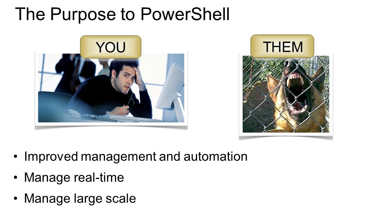 The Purpose to PowerShell Improved management and automation Manage real-time Manage large scale YOU THEM