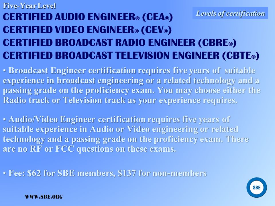 www.sbe.org Entry-Level Entry-Level CERTIFIED BROADCAST NETWORKING TECHNOLOGIST ® (CBNT ® ) A Broadcast Network Technologist certification can be obta