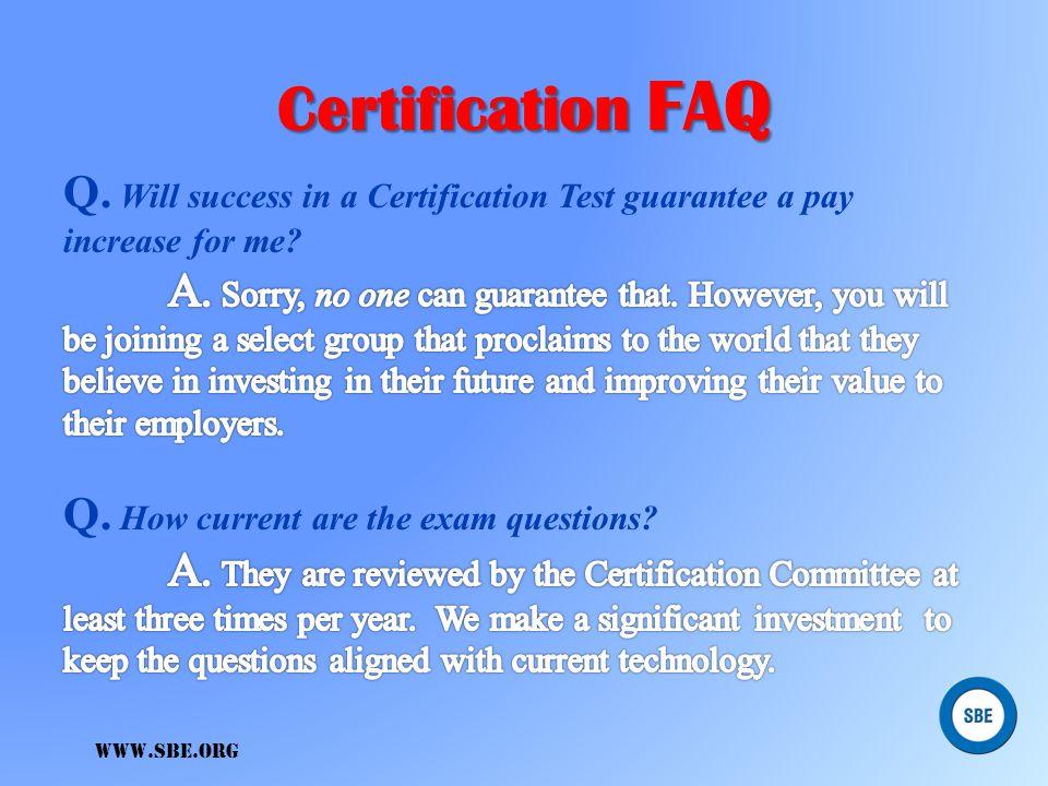 www.sbe.org Certification FAQ