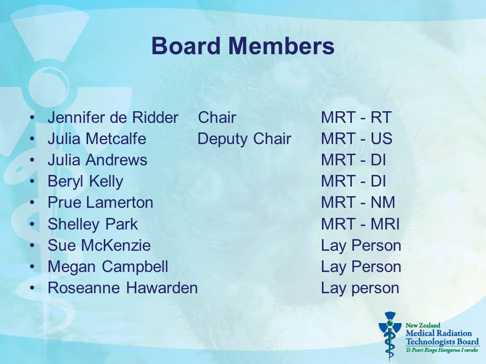 Board Members Jennifer de Ridder ChairMRT - RT Julia Metcalfe Deputy ChairMRT - US Julia AndrewsMRT - DI Beryl KellyMRT - DI Prue LamertonMRT - NM She