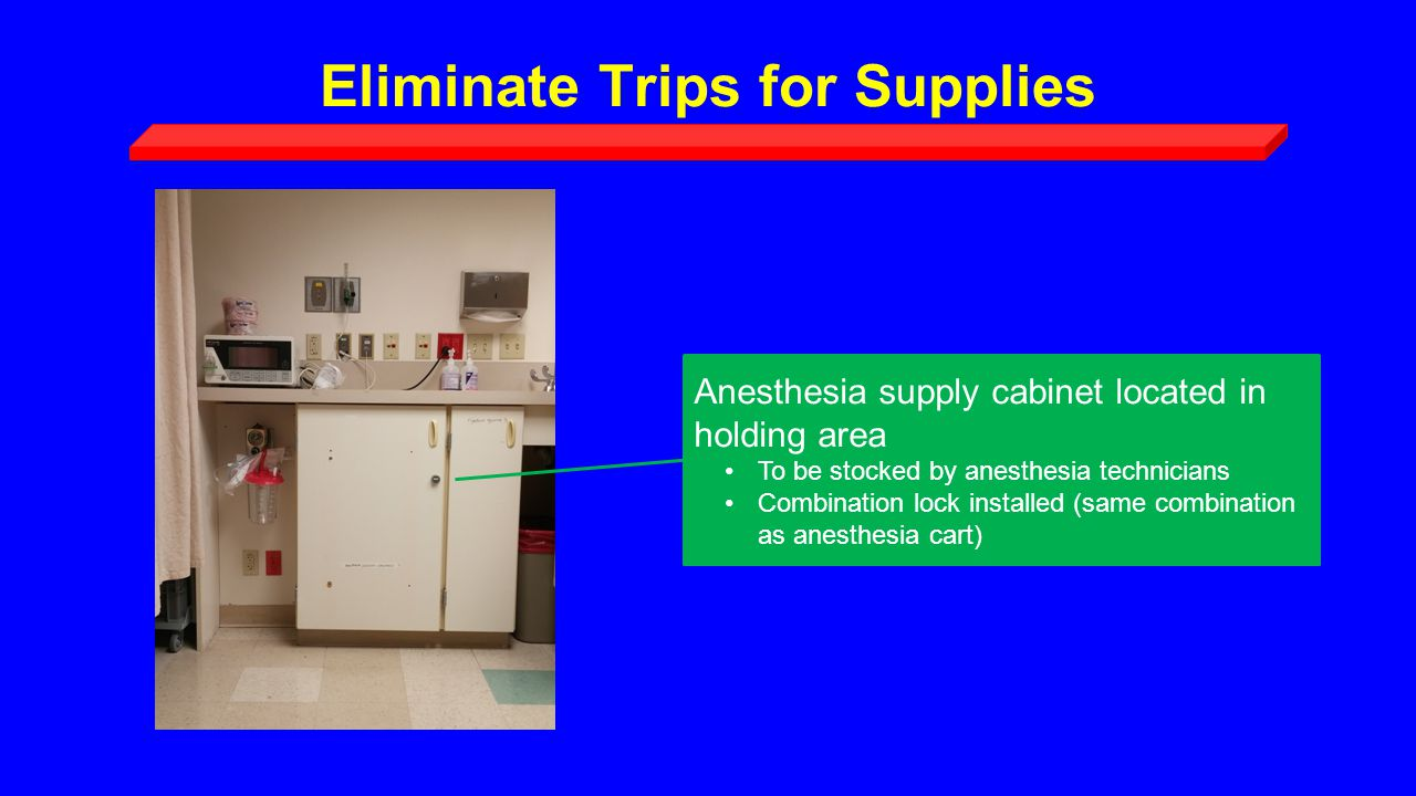 Eliminate Trips for Supplies Anesthesia supply cabinet located in holding area To be stocked by anesthesia technicians Combination lock installed (same combination as anesthesia cart)