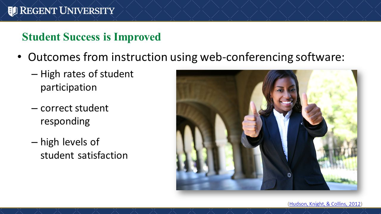 Student Success is Improved Outcomes from instruction using web-conferencing software: – High rates of student participation – correct student respond