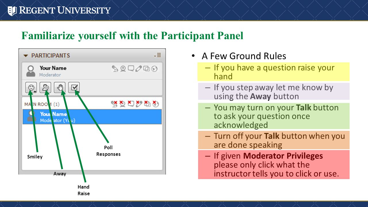 Familiarize yourself with the Participant Panel A Few Ground Rules – If you have a question raise your hand – If you step away let me know by using th