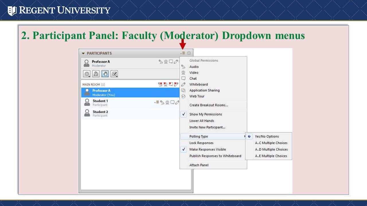2. Participant Panel: Faculty (Moderator) Dropdown menus
