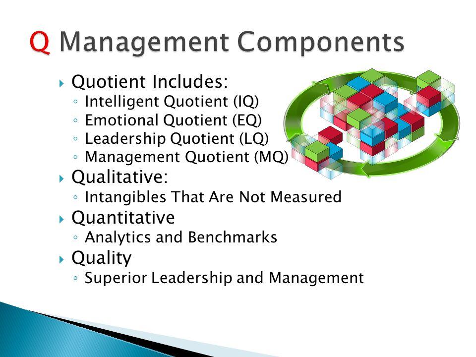  Quotient Includes: ◦ Intelligent Quotient (IQ) ◦ Emotional Quotient (EQ) ◦ Leadership Quotient (LQ) ◦ Management Quotient (MQ)  Qualitative: ◦ Intangibles That Are Not Measured  Quantitative ◦ Analytics and Benchmarks  Quality ◦ Superior Leadership and Management