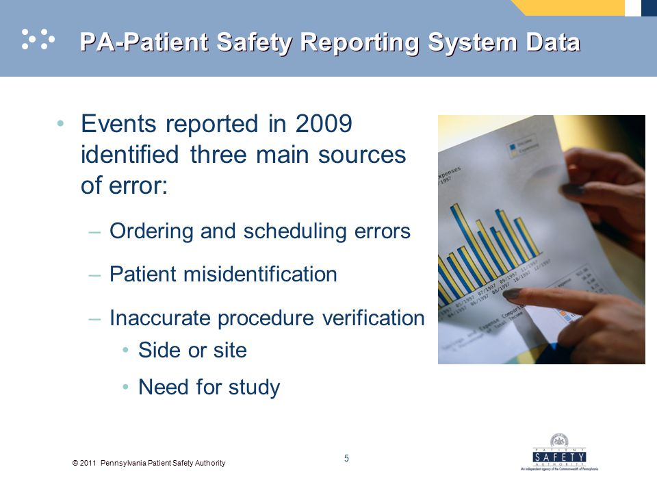 © 2011 Pennsylvania Patient Safety Authority PA-Patient Safety Reporting System Data Events reported in 2009 identified three main sources of error: –Ordering and scheduling errors –Patient misidentification –Inaccurate procedure verification Side or site Need for study 5