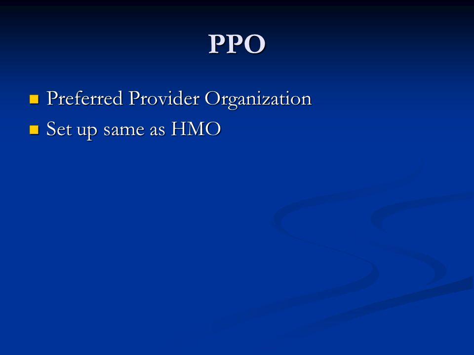 PPO Preferred Provider Organization Preferred Provider Organization Set up same as HMO Set up same as HMO
