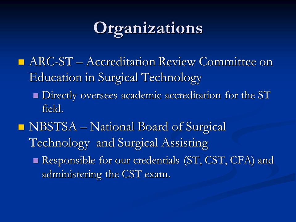 Personal and Professional Live as a Surgical Technologist 2 key principles: 2 key principles: Professional obligations proceed personal freedom at times Professional obligations proceed personal freedom at times Will be isolated from the public Will be isolated from the public