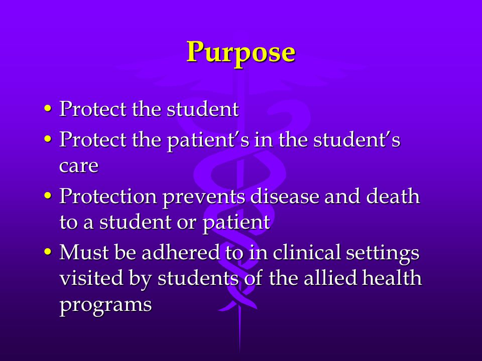 Purpose Protect the studentProtect the student Protect the patient's in the student's careProtect the patient's in the student's care Protection preve