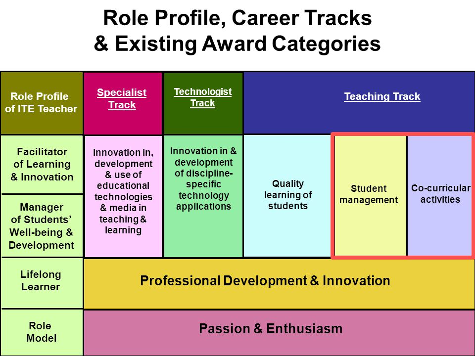 Student management Co-curricular activities Quality learning of students Passion & Enthusiasm Role Profile, Career Tracks & Existing Award Categories Role Profile of ITE Teacher Role Model Lifelong Learner Manager of Students' Well-being & Development Facilitator of Learning & Innovation Professional Development & Innovation Innovation & development of discipline- specific technology applications with students Technologist Track Innovation in, development & use of educational technologies & media in teaching & learning Specialist Track Innovation in & development of discipline- specific technology applications Technologist Track Teaching Track