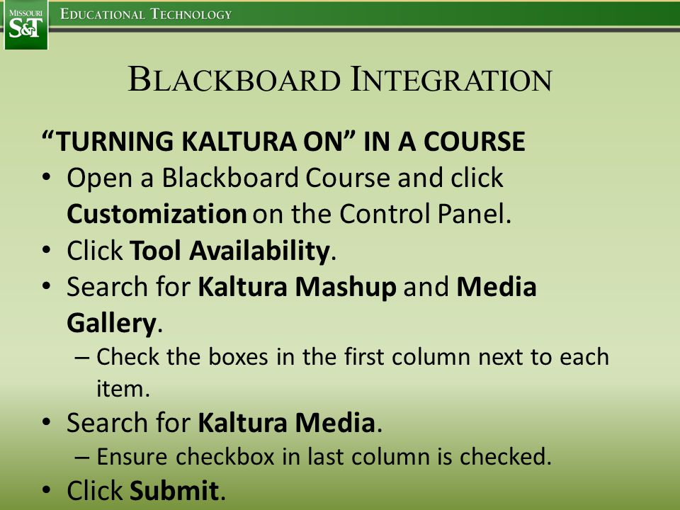 B LACKBOARD I NTEGRATION TURNING KALTURA ON IN A COURSE Open a Blackboard Course and click Customization on the Control Panel.