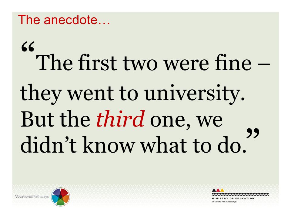 """"""" The first two were fine – they went to university. But the third one, we didn't know what to do. """" The anecdote…"""