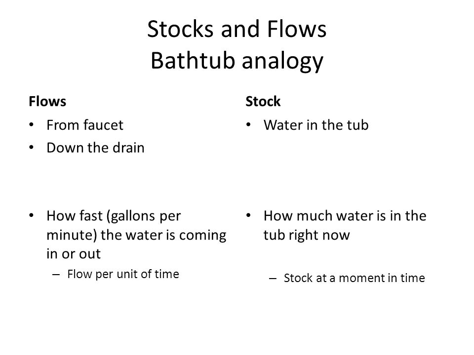 Stocks and Flows Bathtub analogy Flows From faucet Down the drain How fast (gallons per minute) the water is coming in or out – Flow per unit of time Stock Water in the tub How much water is in the tub right now – Stock at a moment in time