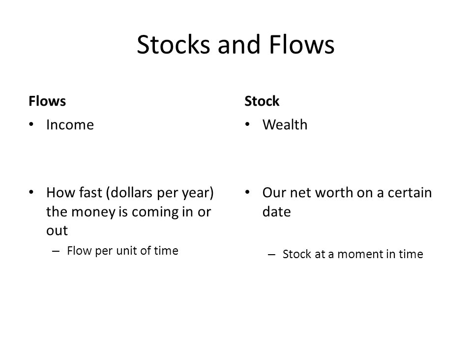 Stocks and Flows Flows Income How fast (dollars per year) the money is coming in or out – Flow per unit of time Stock Wealth Our net worth on a certain date – Stock at a moment in time