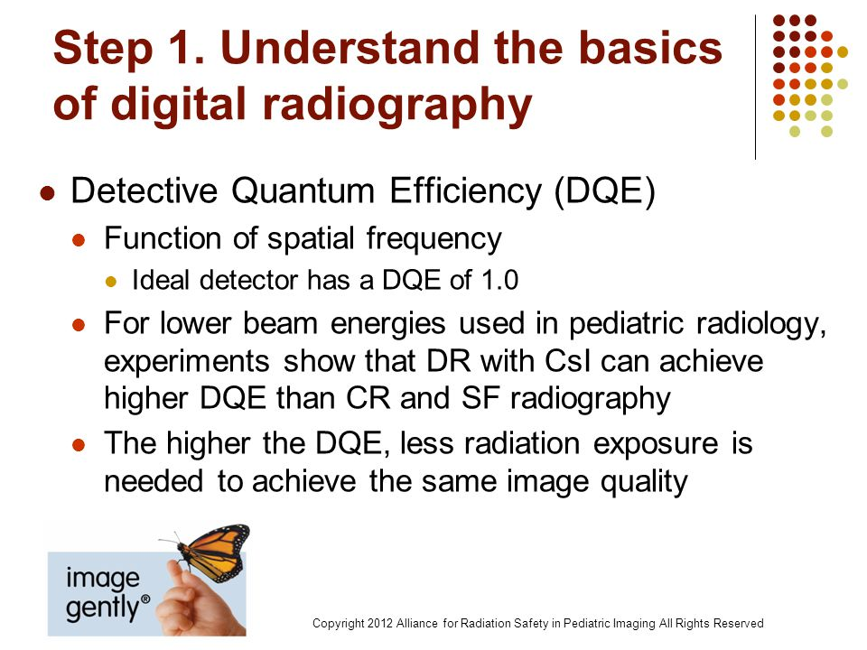 Step 1. Understand the basics of digital radiography Detective Quantum Efficiency (DQE) Function of spatial frequency Ideal detector has a DQE of 1.0