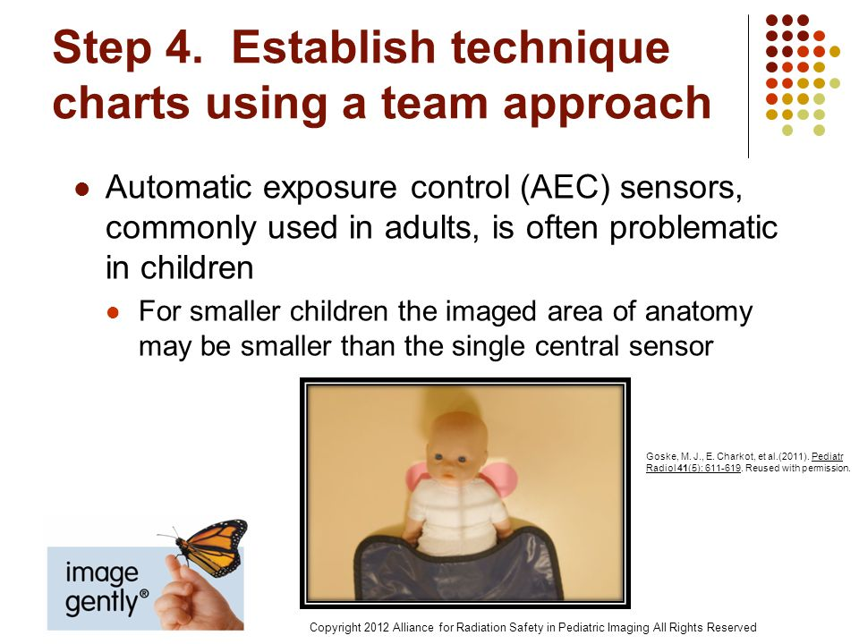 Step 4. Establish technique charts using a team approach Automatic exposure control (AEC) sensors, commonly used in adults, is often problematic in ch